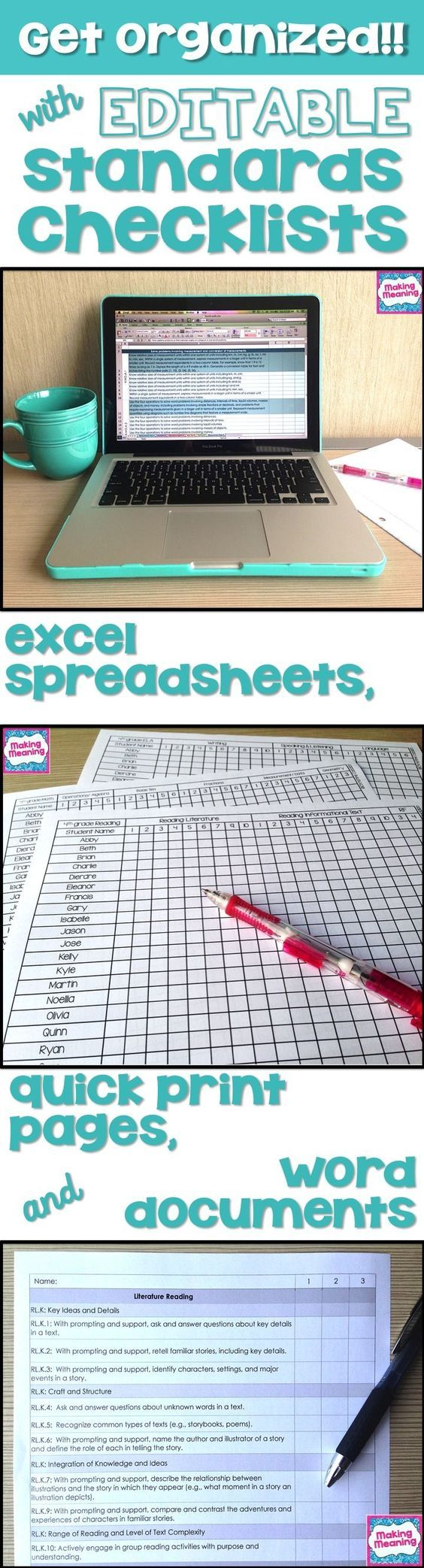 Use editable standards checklists to get and STAY organized. Use Excel or Word, or just quickly add students' names and hit print. Digital and paper- the best of both worlds! $: