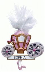 Personalised Christmas Ornament. A pretty and pink Princess Carriage Christmas tree decoration. A favourite with little girls and popular for baby's 1st Christmas too. WowWee.ie | €12.50