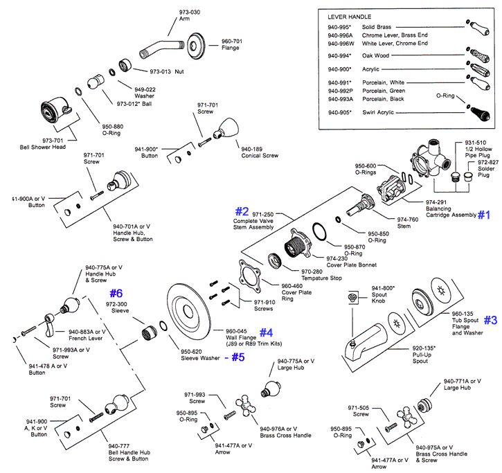 tub shower parts