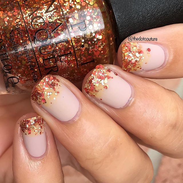 Simple fall gradient over a nude base using @opi_products Orange You Fantastic!! Check out some other great fall Thanksgiving looks at @cutegirlshairstyles (clickable link in bio!)