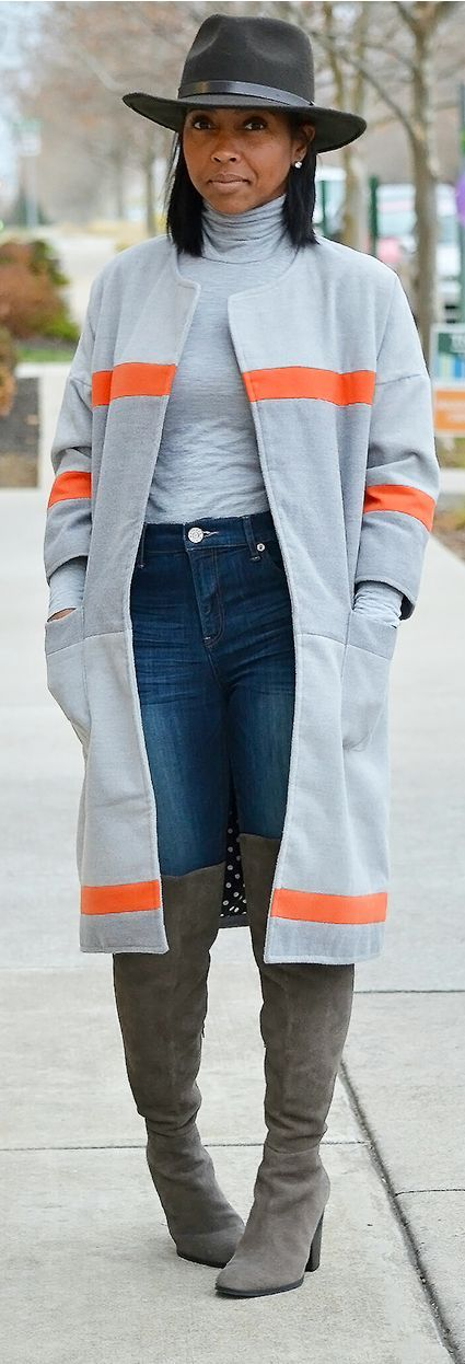 cool Fall Outfit Idea, Grey Sweater, Gray Sweater, OTK boots, Fall Hat...