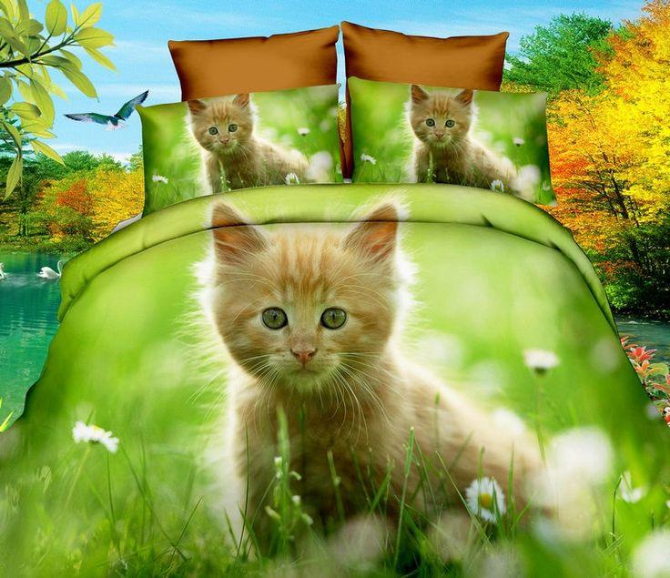 Zelené posteľné obliečky s mačkou na lúke