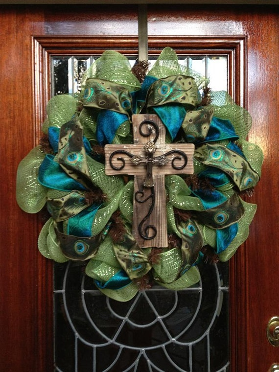 Peacock Cross Deco Mesh Wreath by SouthernWreathDesign on Etsy, $85.00