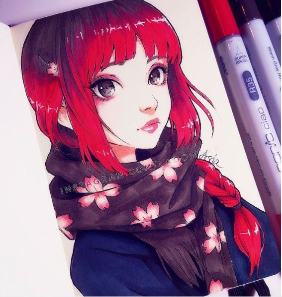 """#sakura scarf #ー #reltober"" ladowska Sketch markers 10/2016"