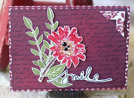 Card by Connie Mercer using Darkroom Door Daisy Eclectic Stamp, French Script Background Stamp, Carved Leaves Vol 1 and Whimsical Words Rubber Stamps.