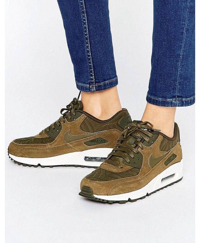 low priced 81c51 78f48 Nike Air Max 90 Premium Khaki Trainers Clearance