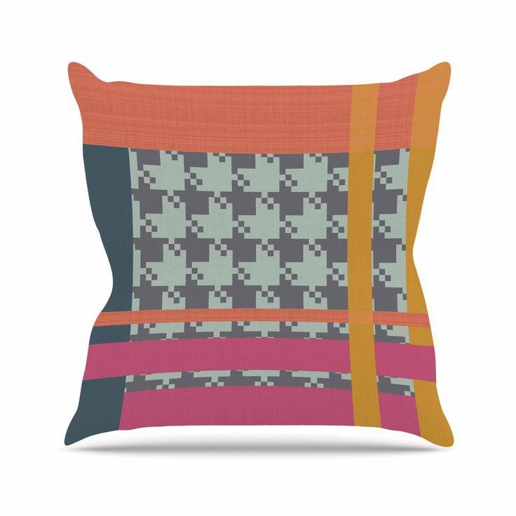 "Pellerina Design ""Houndstooth Color Block"" Multicolor Contemporary Throw Pillow"