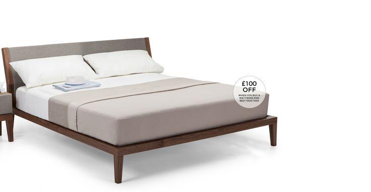 Lansdowne 160cm x 200cm Euro King Size Bed, Walnut and Heron Grey