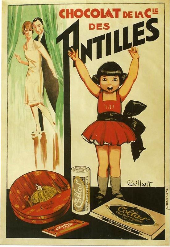 Vintage French Chocolate Advertisement   Art by Vailant c1930.