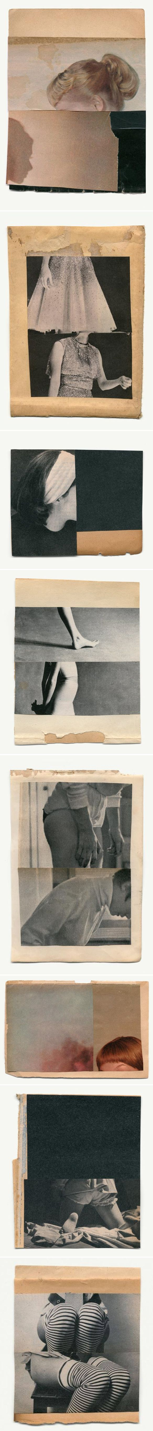 Katrien de Blauwer developed her collage practice while studying fashion but later it became her full focus. She creates fairly simple compositions from found photography and magazine cuttings, usually juxtaposing just one or two images to create an ambiguous narrative.