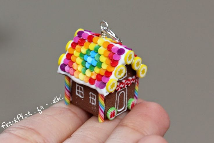 Miniature Gingerbread House Jewelry for Christmas Miniature Polymer Clay…