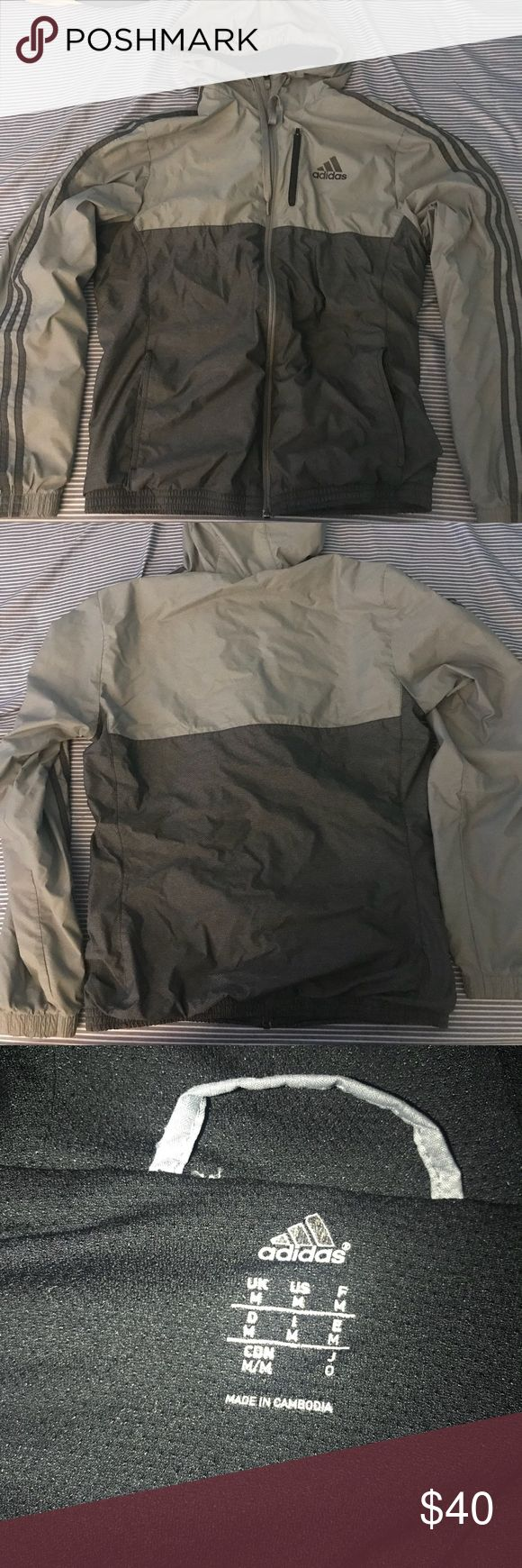 Adidas jacket Gray and dark gray design for rain and wind. In good condition close to new condition. adidas Jackets & Coats Raincoats