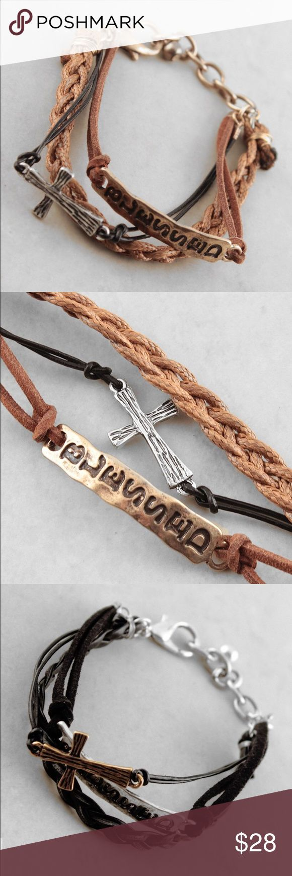 """Cross blessed bracelet Price is for one bracelet.          7""""L Antique Metal and Cord Lobster Clasp Closure. ❤️This bracelet will be marked down to $18 this weekend so lemme know if u want it❤️ Jewelry Bracelets"""