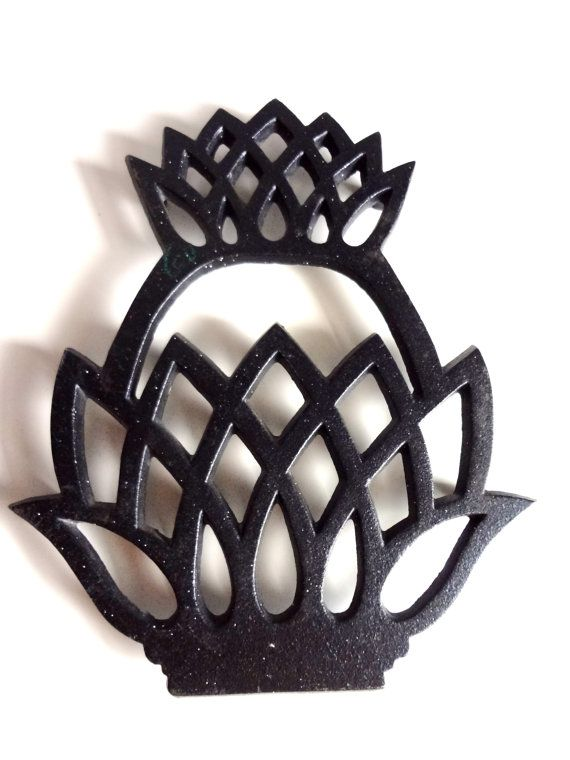 CAST IRON Pineapple Trivet by Virginia Metalcrafters. Vintage 1976 Hot Pad Pot Holder. Sign of Welcome. Symbol of Hospitality. $13