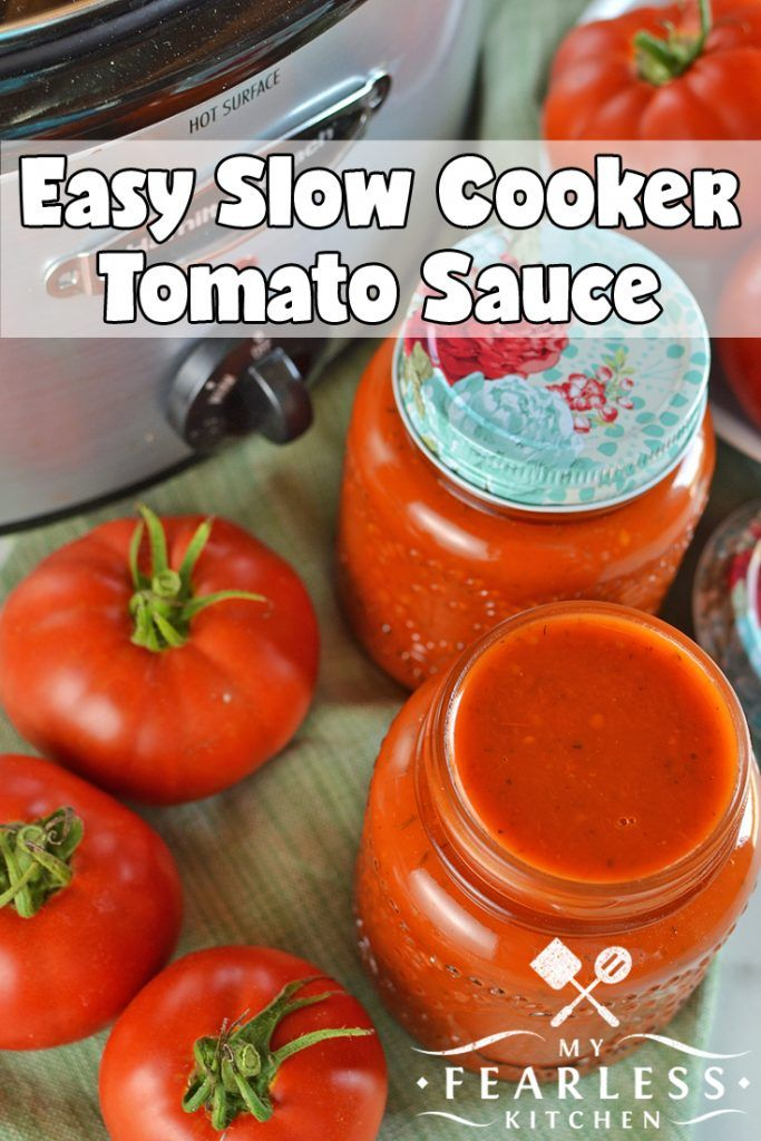 Easy Slow Cooker Tomato Sauce from My Fearless Kitchen. Make the most of your garden-fresh tomatoes with this Easy Slow Cooker Tomato Sauce. Make a few big batches now and freeze it to use all winter long.