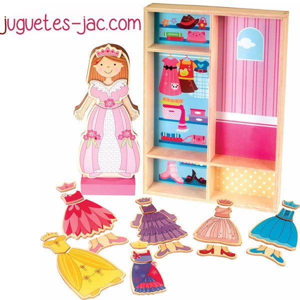 Armario Organizador Plastico ~ Muñeca con armario, con ropa de madera intercambiable con imanes Juguetes de Madera Pinterest