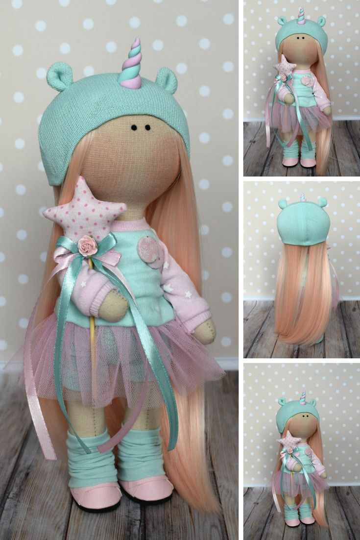 Unicorn Baby Doll Tilda Green Fabric Doll Winter Soft Art Doll Handmade Textile Doll Rag Doll Bambole di stoffa Poupée Muñecas by Olga G This is handmade cloth doll created by Master Olga G (Vinnitsa, Ukraine). Doll is READY for shipment. Doll can be a great present for your children, family, colleages or friends. Style of doll easily helps to use such doll as home decoration and interior design.