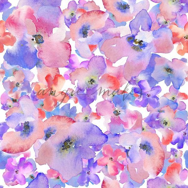 Modern Watercolor Floral Background Pattern Red And Blue Flower