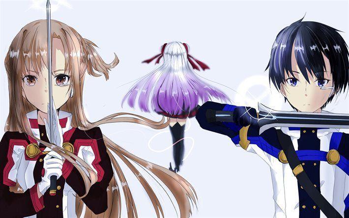Télécharger fonds d'écran Épée Art en Ligne, Lumière-roman, Kirito, Raki Kawahari, manga