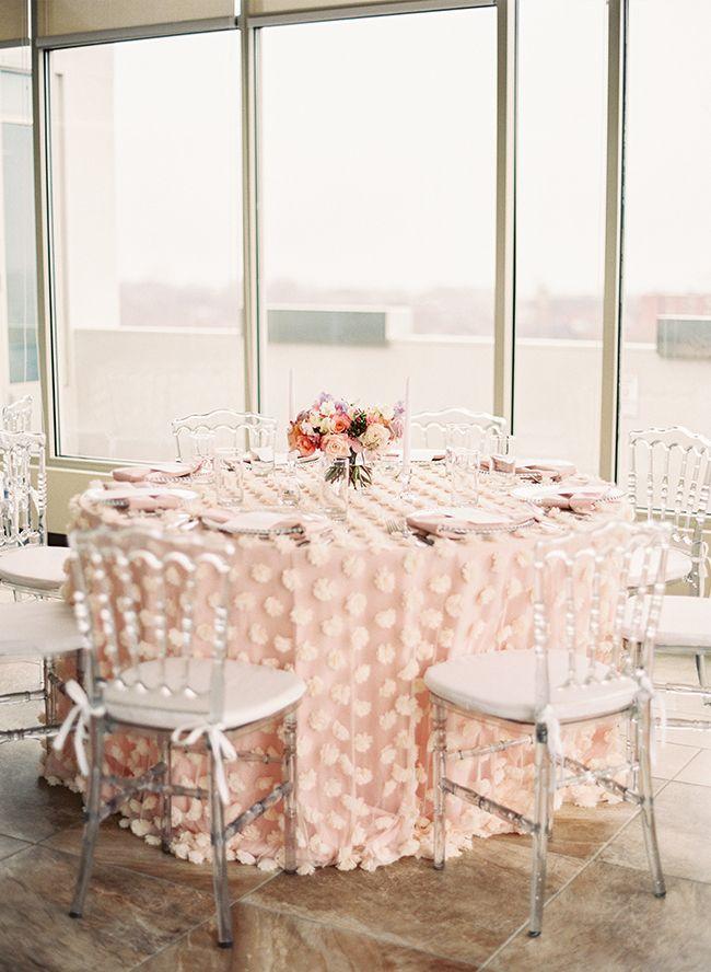 La Tavola Fine Linen Rental: Brisa Blush over Topaz Blush | Photography: Lauren Gabrielle, Event Planning & Design: A Charming Fete, Floral Design: Lynch Design, Chairs and Plates: All Occasion Rental