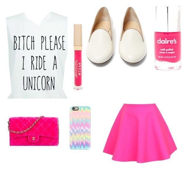 """Unicorn at heart "" by mylifeaseva2 ❤ liked on Polyvore featuring UNIF, Charlotte Olympia, Chanel, Casetify, claire's and Stila"