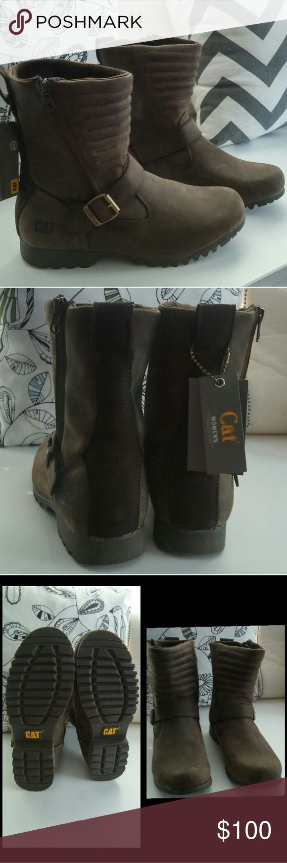 NWOT Brown Caterpillar boots Brand new motorcycle waterproof boots. No box Caterpillar Shoes Combat & Moto Boots