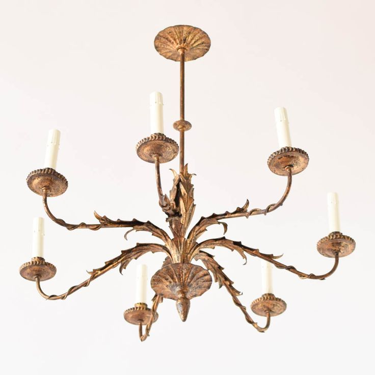 C10734 Vintage Spanish SImple Chandelier with leaves Base View by The Big Chandelier Atlanta GA-18