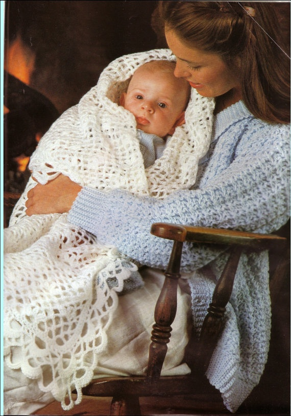 Vintage crochet pattern babies square shawl 3 page by craftypeople, £1.20