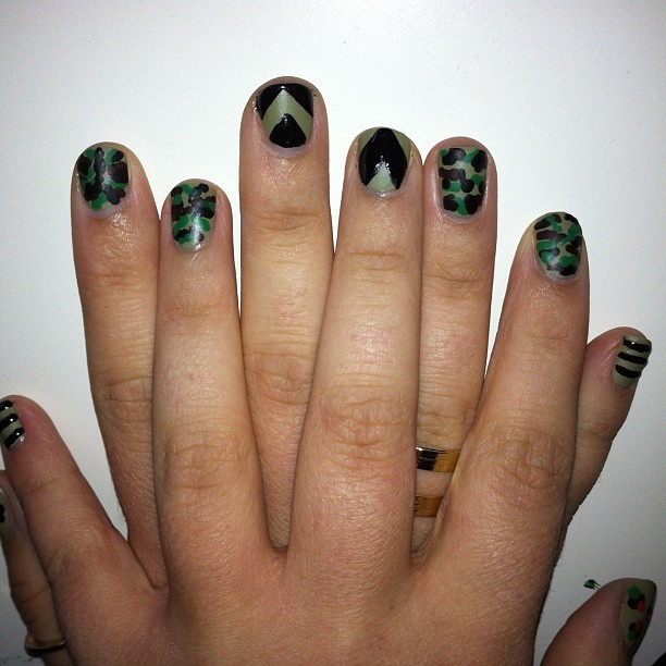 #Army and #Camouflage inspired #nailart