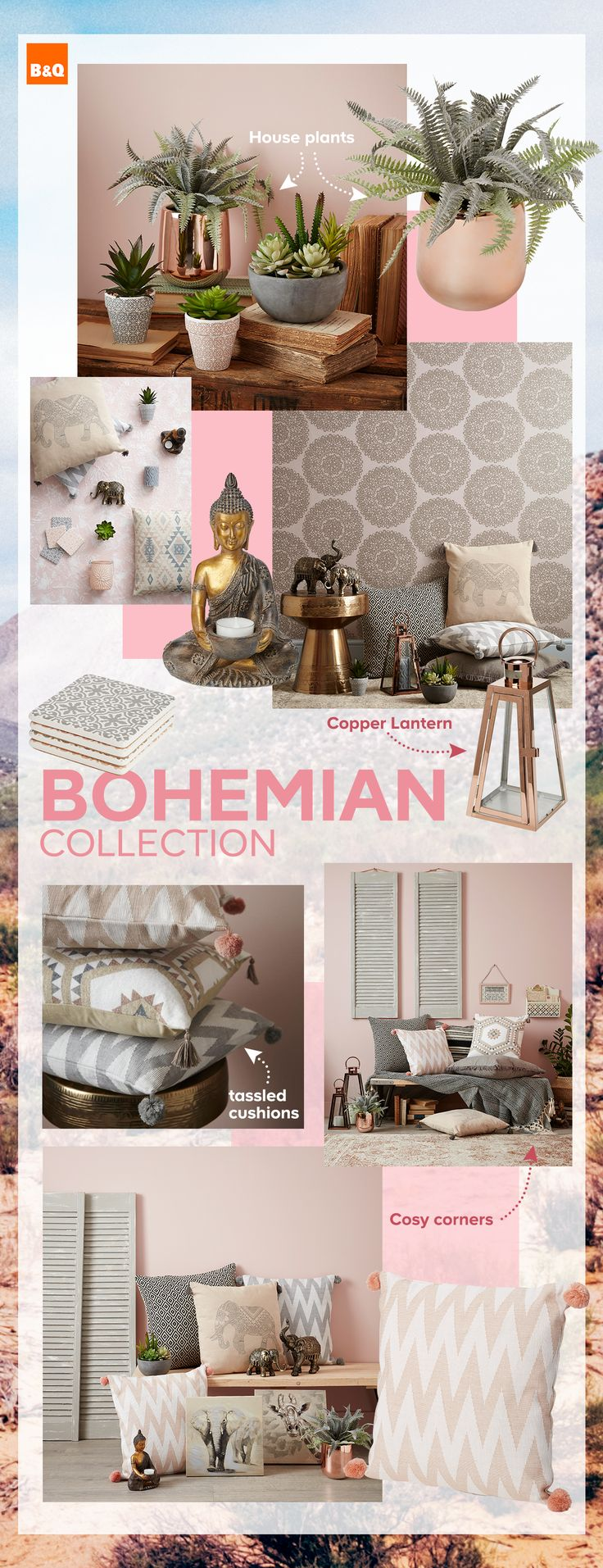 Introducing our NEW Bohemian decor collection - Create a relaxing bohemian boudoir by adding soft tones and tons of texture to your home this season. Our new spring/summer decor collection is full of charm, so your mood will feel as serene as your home.