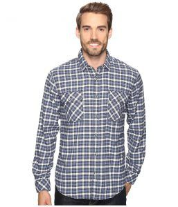 James Campbell Long Sleeve Woven Gonzalo Plaid (Blue) Men's Long Sleeve Button Up