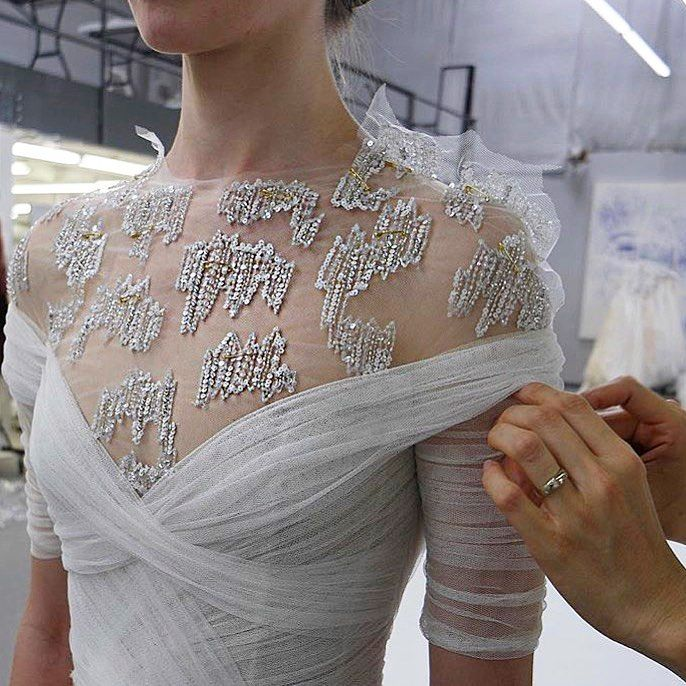 "1,931 Likes, 13 Comments - Monique Lhuillier (@moniquelhuillier) on Instagram: ""The details that go into each and every gown ✨#weddingwednesday #wedding #moniquelhuillier…"""