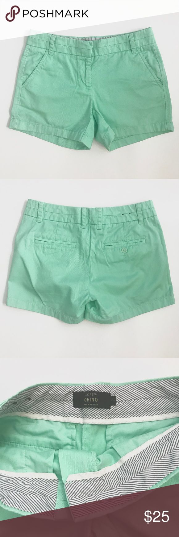 "J. Crew Chino Mint Green Shorts 0 J. Crew Chino Mint Green Shorts, Size 0, EUC, Smoke Free Environment.   Measurements are approx.   Front Rise: 8"" Inseam: 4"" Waist: 28"" J. Crew Shorts"
