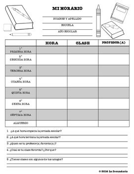 Spanish Class Schedule Chart by LA SECUNDARIA  | Teachers Pay Teachers