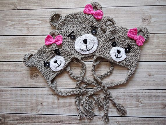 Crochet teddy bear Hat Newborn bear hat Baby por KnitAndCrochetLAND