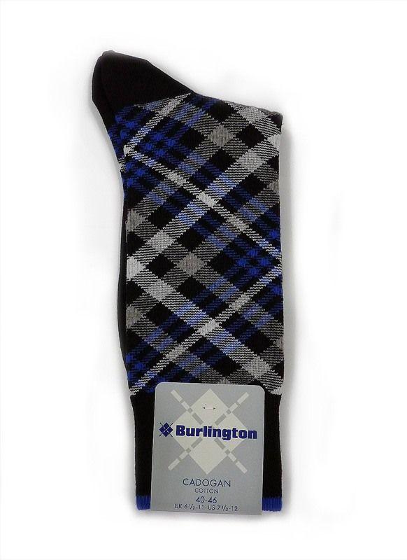 CALCETINES ON-LINE - Calcetín Burlington Cadogan en algodón. Multirayas combinadas ( blanco, azul, gris marengo...) dando lugar a un calcetín muy colorido y juvenil.