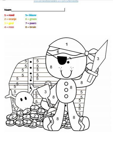 Cijfertekening thema piraten, basisschool, werkblad rekenen, elementary school, pirates, pirate theme