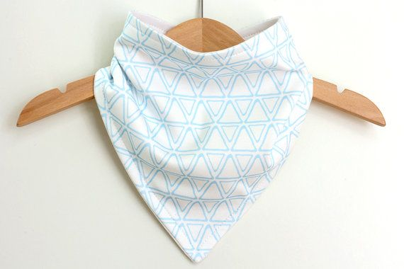 Organic Cotton Baby Bandana Bib  Triangles Blue  by raenne on Etsy, $14.00