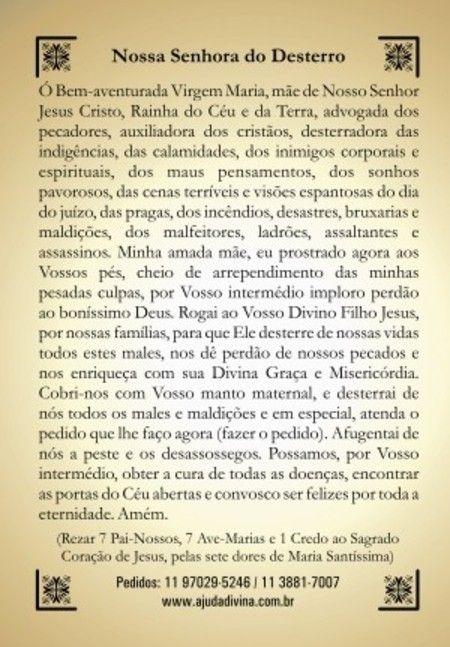 Nossa Senhora do Desterro orações em papel santinhos para promessa - Santinhos Ajuda Divina