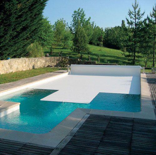 Volet piscine hors sol : Panneau solaire Lames couleur sable / gris / bleu Lames solaire bi matière Batterie 18 A/h Chargeur