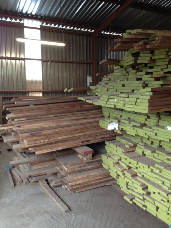 2. Our timber store - wood is stored in stacks by type: kiaat, African mahogany, oak, and Rhodesian Teak. It's amazing how quickly it goes down !! As critical material this is one area of inventory our  production manager will check daily.