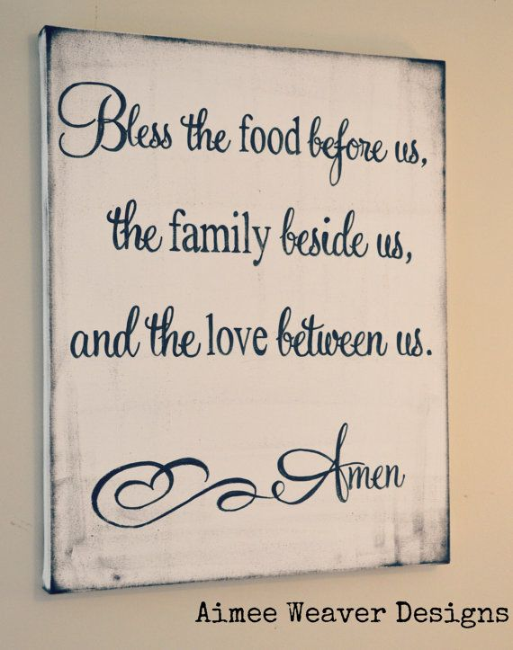 "Canvas Sign ""Bless the food before us"""