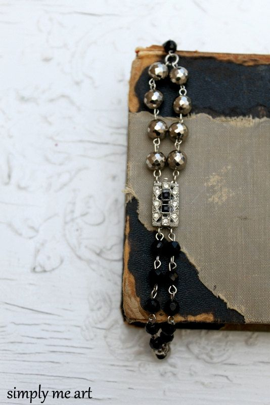 Vintage Rhinestone Onyx and Pyrite One of a Kind by simplymeart, $60.00