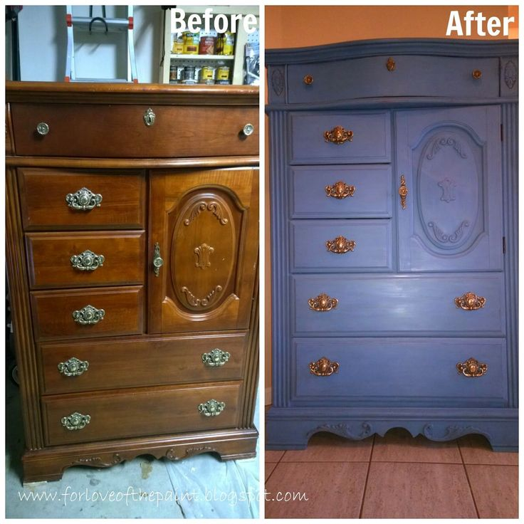 Before And After Chest Of Drawers Dresser In Annie Sloan Chalk Paint Greek Blue