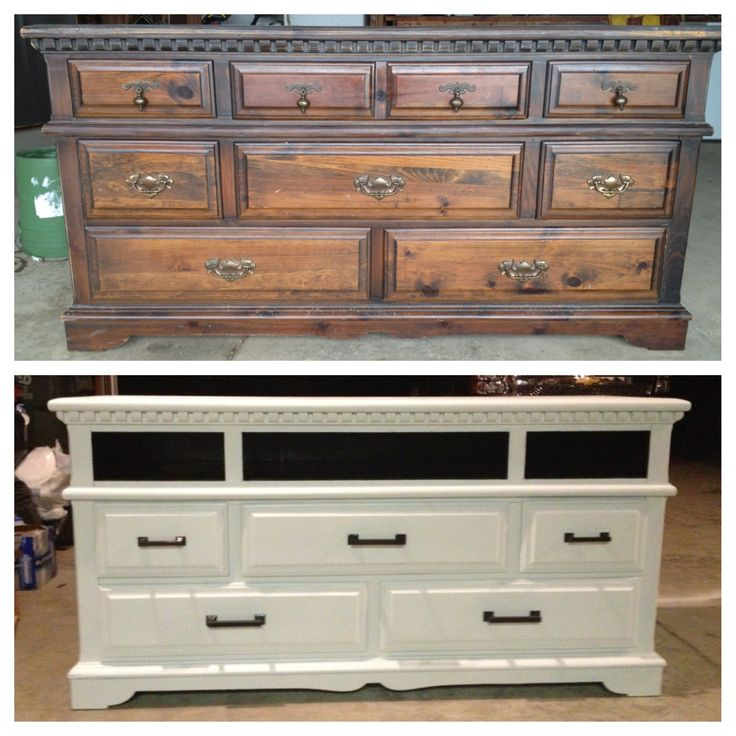 I finally did it! Old dresser in to NEW T.V. Stand!!