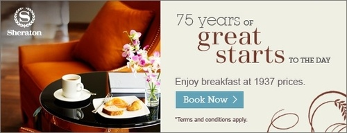 For 75 years, Sheraton resorts and hotels have been a setting for life's most unforgettable moments. On the occasion of our 75th Anniversary, we invite you to share in our celebration by enjoying our Flexible Rates with complimentary buffet breakfast for 2 persons and high-speed internet access.