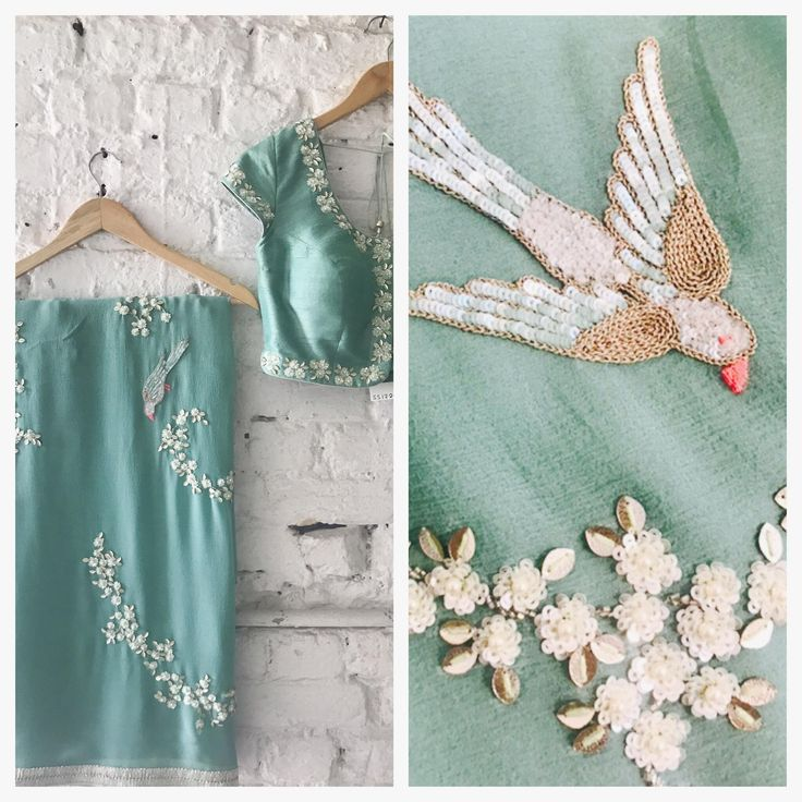 Paradise | Flying Parrots. Stunning designer saree with classy flying parrots embroidery work.  19 May 2017