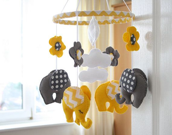 Nursery Mobile  Baby Mobile  Yellow/ Grey by FlossyTots on Etsy, £59.99