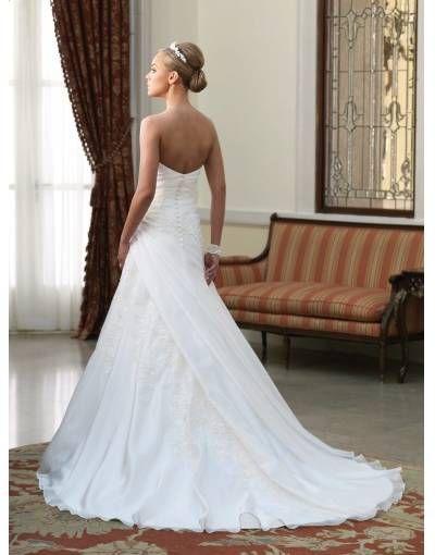 Robe de mariée en dentelle à A-ligne sans bretelle à traîne Chapelle en satin - belle FR