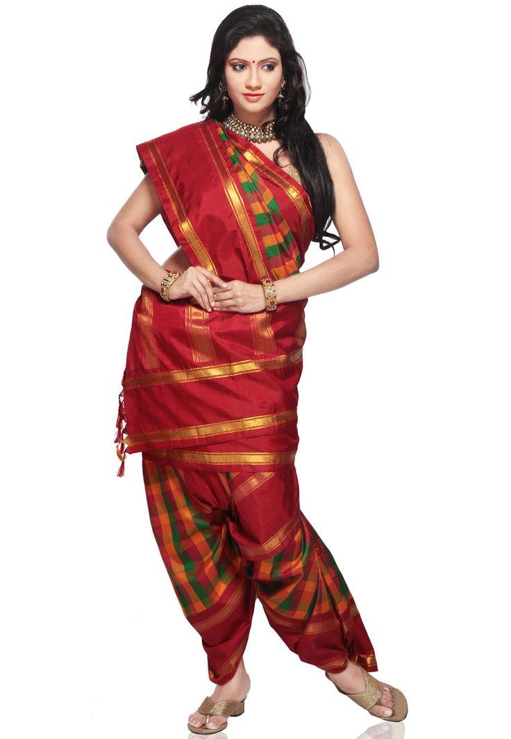 Orange and Green Handloom Pure Kanchipuram Silk Saree with Blouse: SUH14